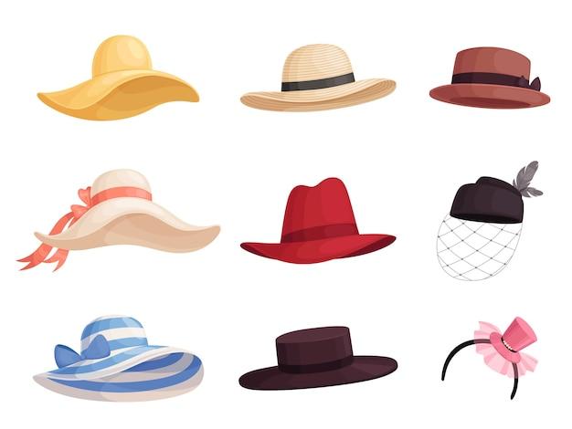 レトロなスタイルのさまざまな色やスタイルの女性のファッショナブルな帽子のセット。エレガントなつばの広い帽子、パナマ、ガウチョ、フェドーラ。白い背景で隔離。 Premiumベクター