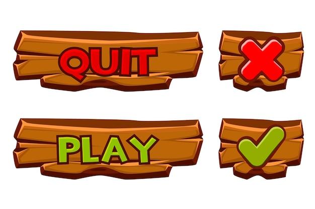 Набор деревянных кнопок играть и выйти. изолированные значки флажок и крест для меню игр. Premium векторы