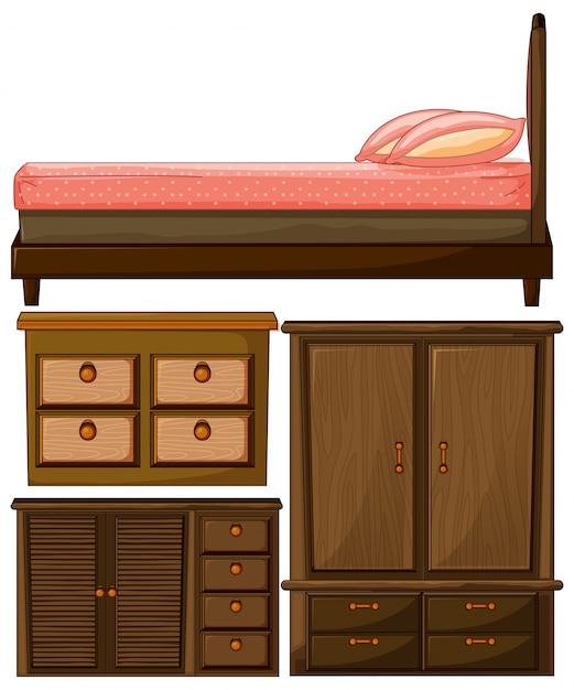 Набор деревянной мебели для спальни и шкафа Бесплатные векторы