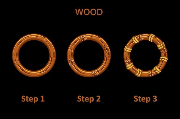 Набор деревянной круглой рамы Premium векторы