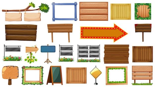 Набор деревянных знаков изолированные Бесплатные векторы