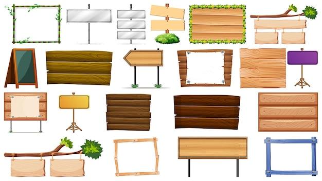 木製看板のセット 無料ベクター