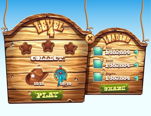 Набор деревянных окон для прохождения уровня пользовательского интерфейса в компьютерной игре Premium векторы