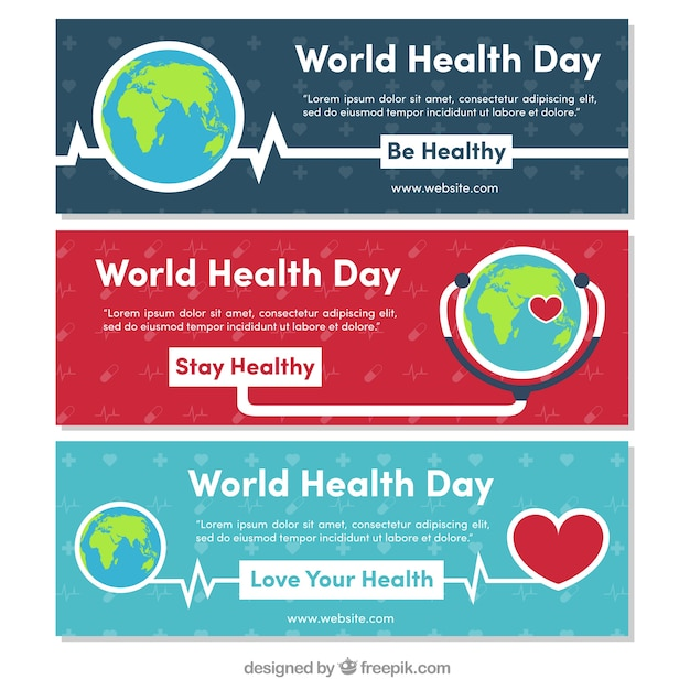 Set of world health day banners