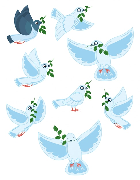 オリーブの枝を持つ世界のハトのセットです。飛ぶ白い鳩のコレクション。 Premiumベクター