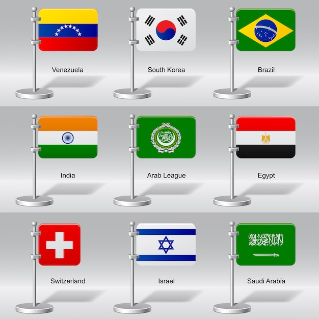 Набор мировых настольных флагов Premium векторы