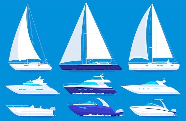 Набор яхт и катеров Premium векторы