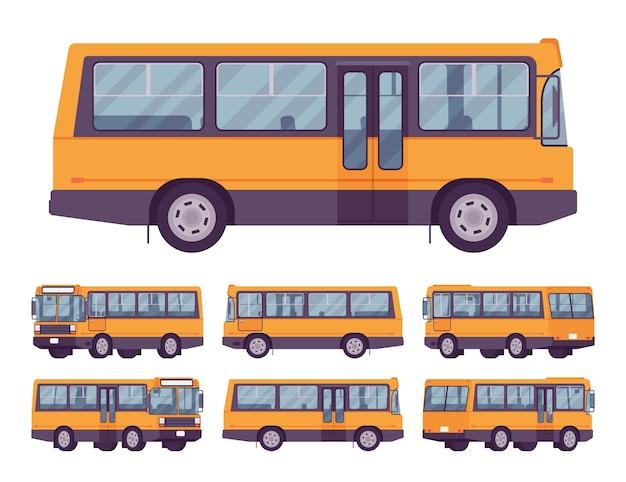 흰색 절연 노란색 버스 세트 프리미엄 벡터