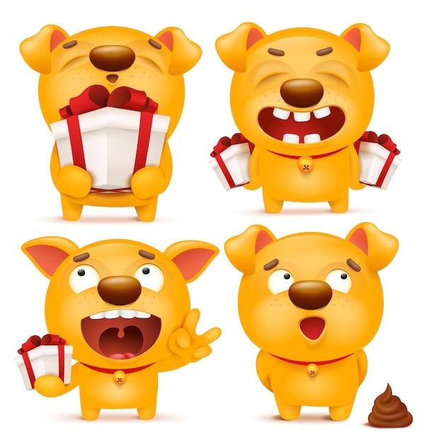 黄色の漫画絵文字犬キャラクターのセット Premiumベクター