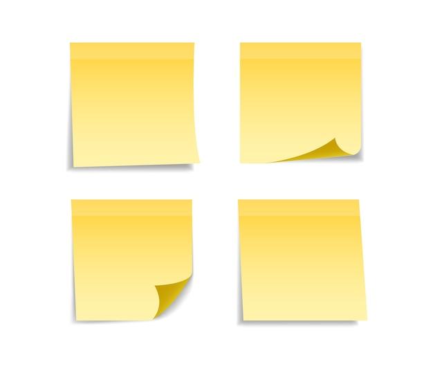 메시지에 대 한 노란색 스티커 세트입니다. 프리미엄 벡터