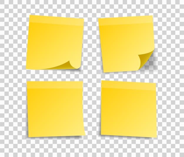 메시지에 대 한 노란색 스티커 메모의 집합입니다. 프리미엄 벡터