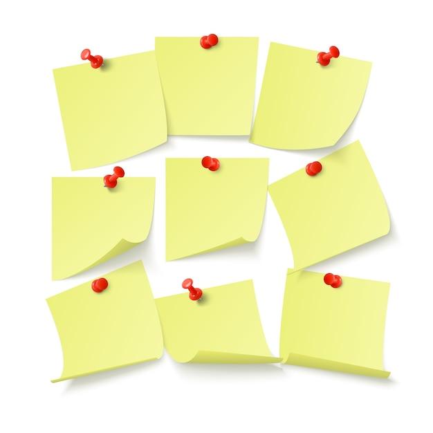 벽에 클립으로 붙어 텍스트 또는 메시지에 대 한 공간을 가진 노란색 스티커 세트. 흰색 배경에 고립 프리미엄 벡터
