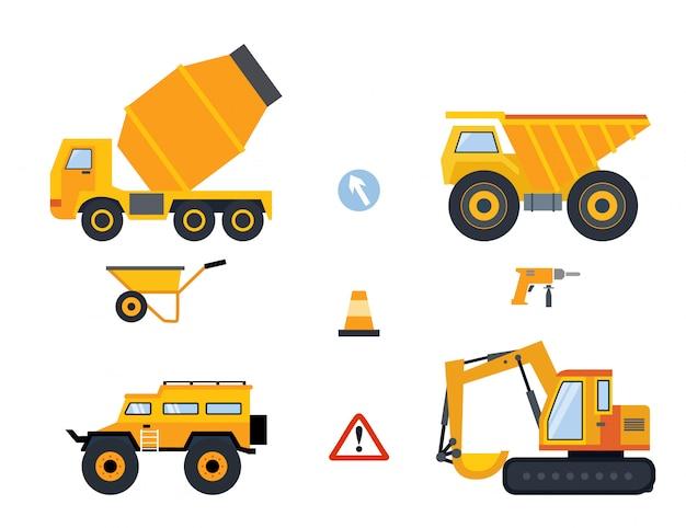 黄色の車、さまざまな種類の建設用トラックおよびツールのセット。 Premiumベクター