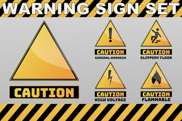 Набор желтых предупреждающих и предупреждающих знаков Premium векторы