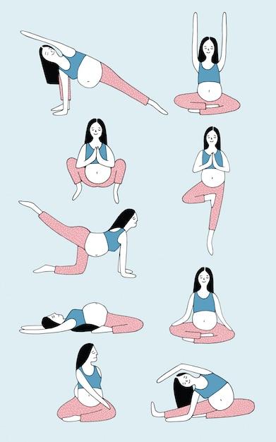 Набор позы йоги для беременной женщины. девушка в разных асанах. рисованной иллюстрации Premium векторы
