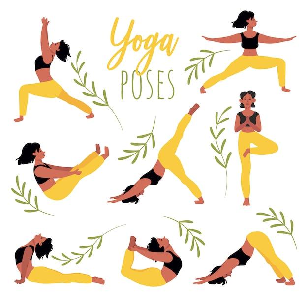 Набор позы йоги. молодая женщина практикующих йогу. отдых, концентрация, здоровый образ жизни. набор иллюстраций в мультяшном стиле, изолированные на белом. Premium векторы