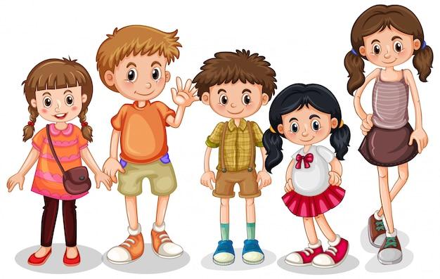 Набор маленьких детей персонажа Бесплатные векторы