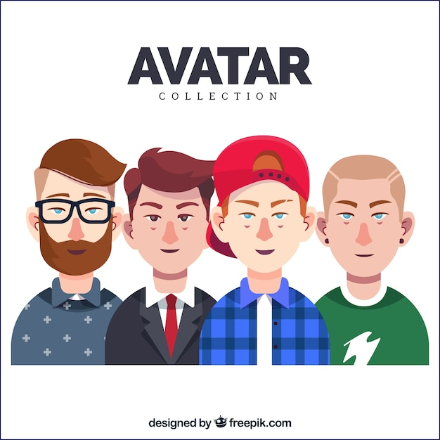 Set of young men avatars