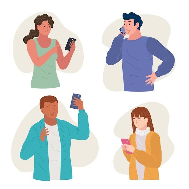 스마트 폰을 사용하는 젊은 사람들의 집합 무료 벡터