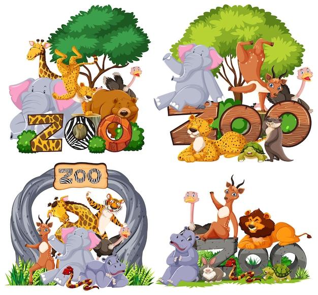 バナーと動物園の動物のセット 無料ベクター