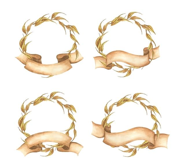 リボン付き秋の花輪のセット秋の葉結婚式、水彩イラストに最適 Premiumベクター