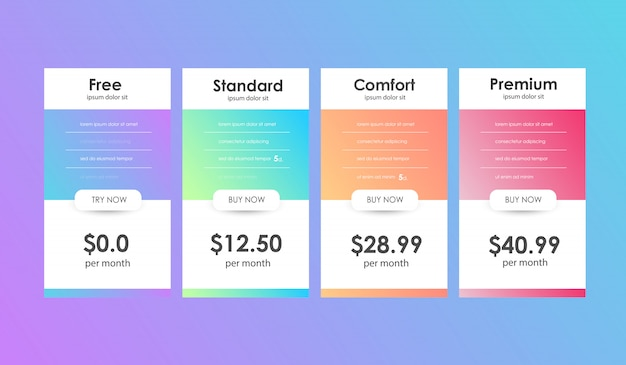 Set of offer tariffs. ui ux banner for web app. set of pricing table. Premium Vector