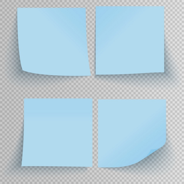 Set of office blue sticky stickers with shadow isolated on transparent. Premium Vector