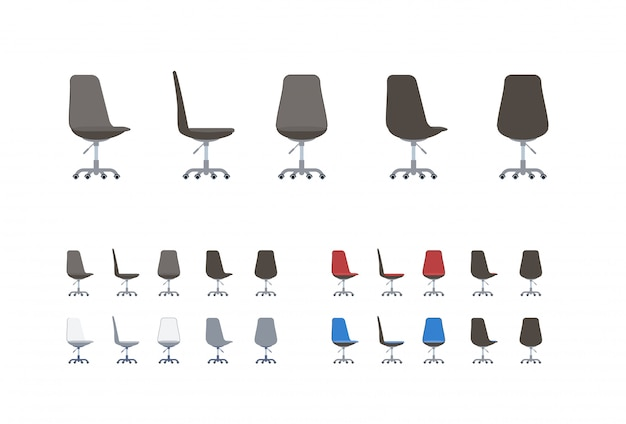 Premium Vector Set Of Office Chairs In Flat Cartoon Style