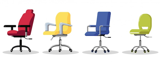 Установите офисные стулья на колесиках. современное кресло с регулируемой высотой стола. вид сбоку. предмет мебели для рабочего места в компании или дома. значок на белом фоне. Premium векторы