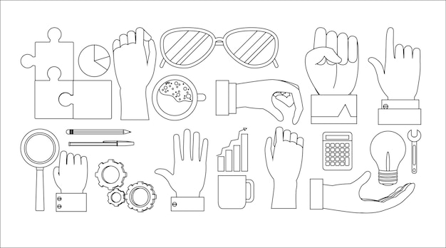 Set of office elements collection vector illustration graphic design Premium Vector
