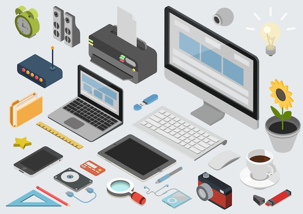 Set of office elements Free Vector