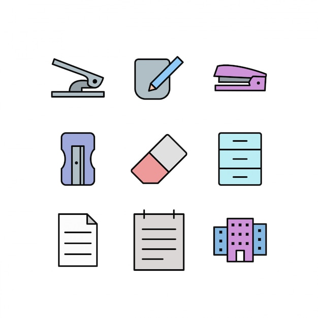 Set of office icons isolated on white background Premium Vector