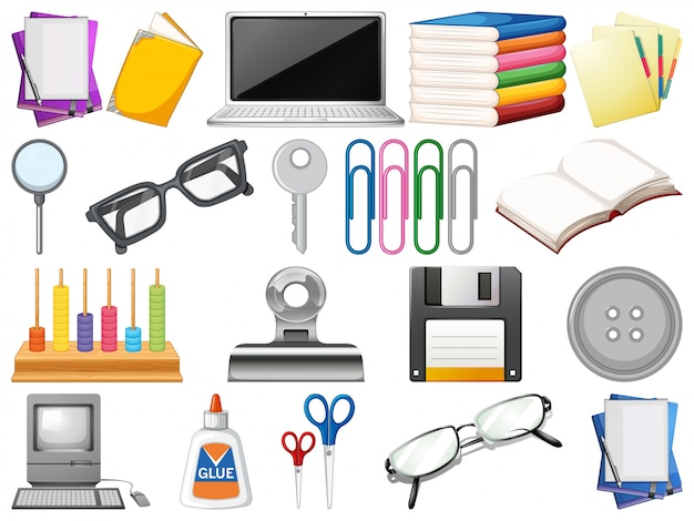 Set of office objects Free Vector