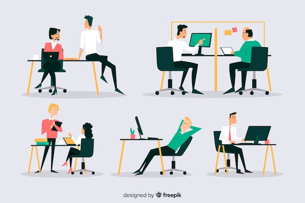 Set of office workers sitting at desks Free Vector