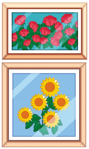 Set og beautiful flower frame Free Vector