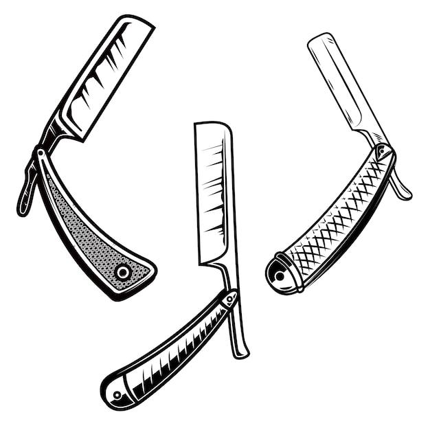 Set og retro style barber razors.  element for poster, card, banner, sign, emblem.  illustration Premium Vector