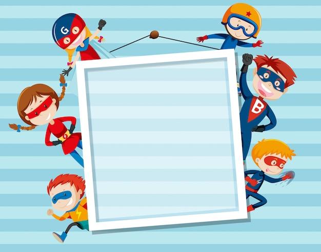 Set og superhero on frame Premium Vector