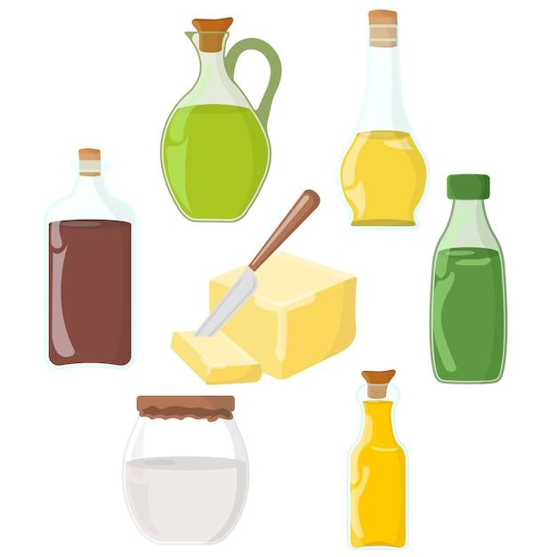 Set of oil, fat, butter icon. Premium Vector