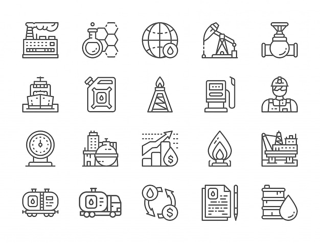 Set of oil industry line icons. fuel truck, engineer, factory and more. Premium Vector