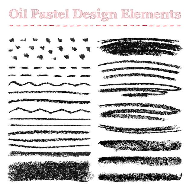 Set of oil pastel brush strokes and design elements Premium Vector