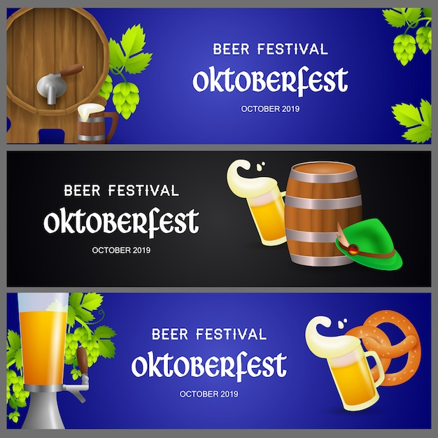 Set of oktoberfest banners with beer production elements Free Vector