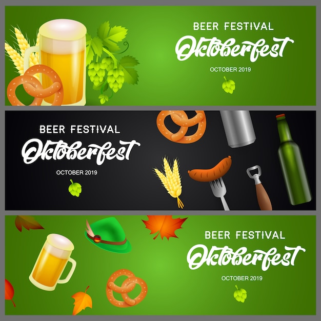 Set of oktoberfest banners with beer and snacks Free Vector