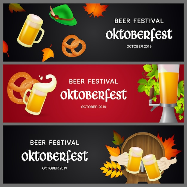 Set of oktoberfest beer festival banners Free Vector
