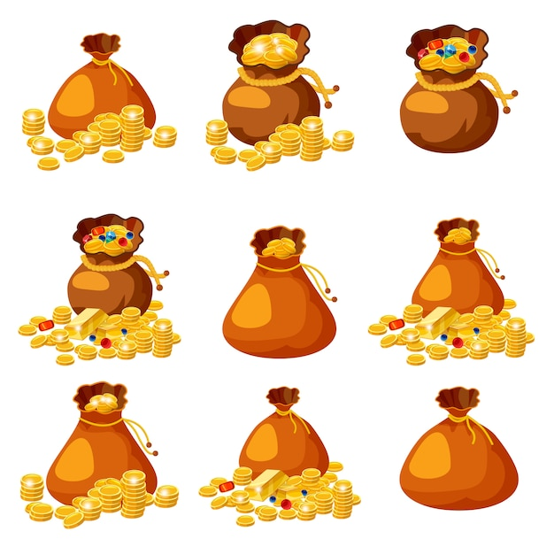 Set of old bags, purses, empty and full of gold for gaming in cartoon style Premium Vector