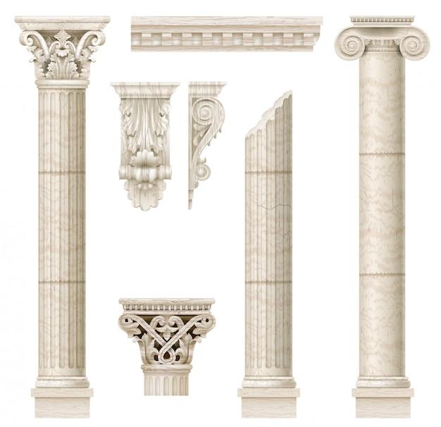 Set of old classical columns Premium Vector