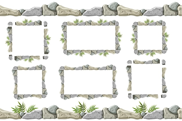 Set of old gray rock border, frames with grass. Premium Vector