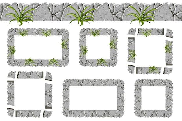Set of old gray rock border and frames with grass. Free Vector