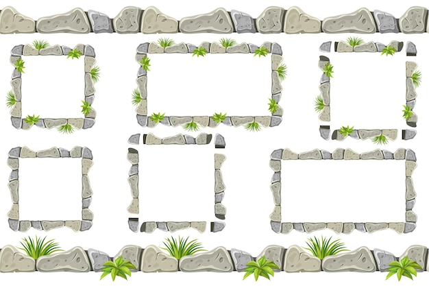 Set of old gray rock border, frames with grass. Free Vector