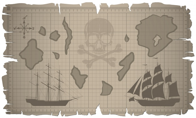 Set of old paper sheets and old map. vector. Premium Vector