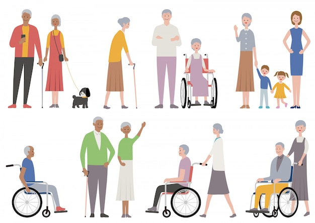 Set of old people isolated. vector illustration in a flat style. Premium Vector